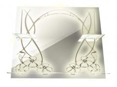 Mirror decorative with shelves and illumination