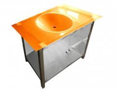 Curbstone in a bathroom under a wash basin