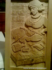 Bas-reliefs and wooden panels