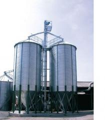 Metal silos for grain storage, pelet with conical