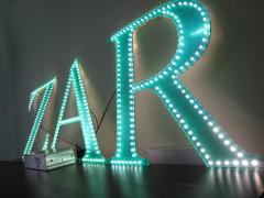 Volume letters with LED pixel illumination