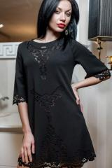 Платье-туника с перфорацией Анжелика черный цвет