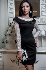 Платье имитация двойки Керри чёрный+молоко