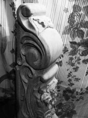 Hand-rail carved for ladders from the massif, an