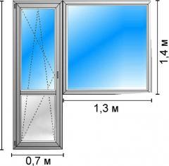 Балконный блок с дверью из немецкого профиля
