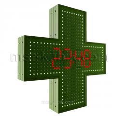 Аптечный крест 600х600 светодиодный с часами...