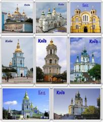 Kiev. Tserkov cathedrals. Acrylic magnets on the