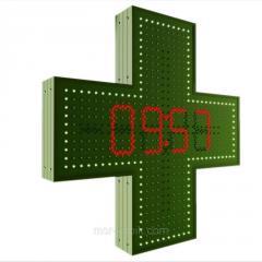 Аптечный крест 750х750 с часами светодиодный...