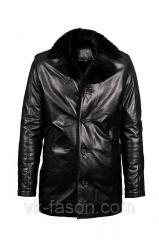 Зимняя кожаная куртка длинная с норкой