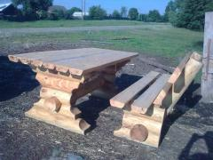Furniture for a garden from solid pine
