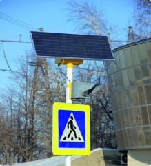 Traffic lights on solar batteries