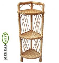 Плетеная мебель оптом, Полка из лозы (угловая)