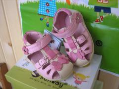 Детские кожаные сандалии Sunway