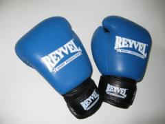 Перчатки боксерские синие кожа 10 унц. Reyvel