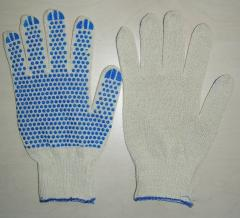 Regular gloves x / with PVC point (kl.13)