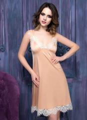 Silk nightgown peach with the Renaissance lace