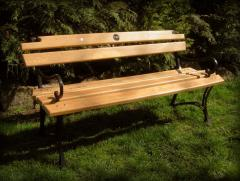 The bench is wooden garden