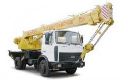Cranes automobile - the MAZ basic chassis