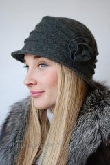 Шляпа женская с розой темно-серая