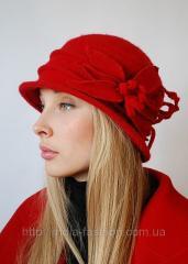 Шляпа женская с цветком лилии, красная