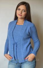 Кофта женская из ангоры (обманка) синяя с