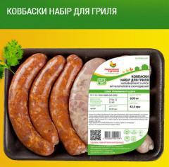 Полуфабрикаты в маринаде ТМ Гавриловские курчата: Колбаски гриль куриные; Колбаски охотничьи куриные;  Колбаски набор для гриля