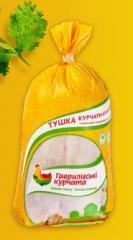 Тушка цыплят-бройлеров первой категории замороженная ТМ Гавриловские курчата в СЭС упаковке индивидуальном пакете
