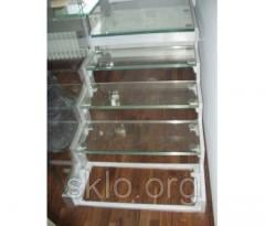 Steps for a ladder from glass