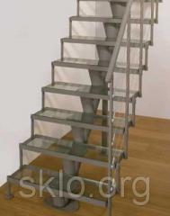 Ladder from laminated glass triplex