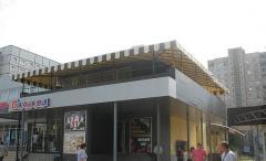 Hinged design over terassy summer cafe
