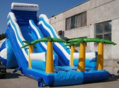Inflatable waterslides the Wave for operation with
