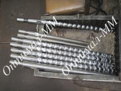 A set of axes and bushings on the injection