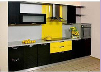 Кухня прямая черно-желтая