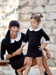 Детское Трикотажное платье с воротником