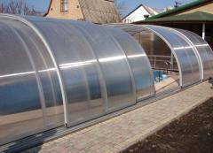 Pavilions for pools. Protective a nakrytiya for