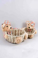 Плетеная корзина мишки