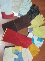 Перчатки спилковые и краги сварщика