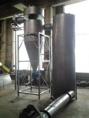 Drying installation: drying of sawdust, spirit