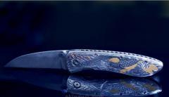 Авторский складной нож из дамасской стали