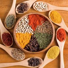 Spices, spicery, dried herbs and vegetables for