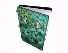 Notebook for record in leather cover Peacock
