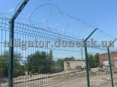 Забор Егоза плоский, барьер СББ из колючей проволоки