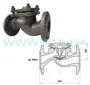 Backpressure flange valve 16kch9p Du of 50 mm cast