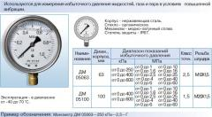 DM 05 manometers are vibration-proof, glitserinonapolnenny GOST 2405-88