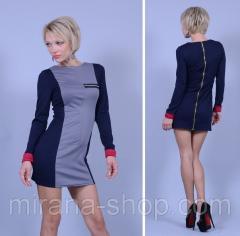 Платье трикотажное бока и рукава синие