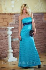 Платье в пол голубое в горох  Платья атласные
