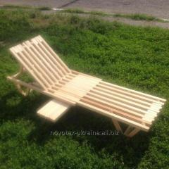 Beach chaise longue wood from natural wood
