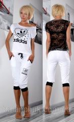 Костюм с бриджами Adidas белый  Код: 115/ОТ