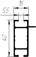 Aluminum shape of rectangular section