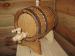 Keg under wine, cognac, moonshine, chacha, an oak
